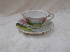 "Vintage Hand Painted China Japan ""M"" Lake Scene Tea Cup & Saucer"