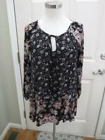 FREE PEOPLE XS Black Floral Tie Long Sleeve Peasant Tunic Boho Hippie Top Blouse