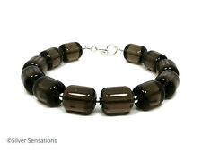 Chunky Brown Smokey (Smoky) Quartz Beaded Bracelet With Sterling Silver Beads