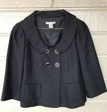 Ann Taylor Double Breasted Suit Blazer Jacket Black Oversized Collar Sz 2