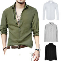 Men's Light Washed Long Sleeve Shirts Cotton and Linen Baggy Loose T-shirt Tops
