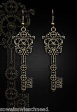 Golden Steampunk Alice Schlüssel Ohrringe Gothic Key Earrings Victorian Vintage