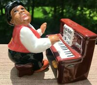 Clay Art Salt & Pepper Shakers Piano Player Male Figurine Salt & Piano Console