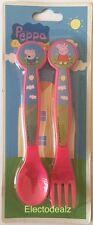 Peppa Pig  & George 2Pc Plastic Cutlery Set Spoon Fork  Mealtime Pink Kids Gift