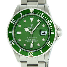 MENS ROLEX SUBMARINER 16800 OYSTER PERPETUAL STEEL HULK DIAMOND GREEN WATCH