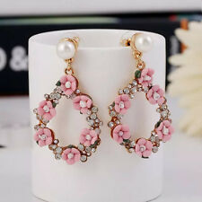 Pink Flowers Drop Dangle Earrings Zara Elegant Baroque Style White Pearl
