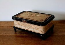 Rare Antique French Hand Embroidered Silk Jewellery Box Ebony Black Wood Flora