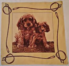 """VINTAGE AUTHENTIC ANIMAL ART HUNTING DOG FAMILY YELLOW BROWN 30"""" SQUARE SCARF"""