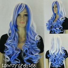 Blue & White Mixed Color COSPLAY Costume Party Long Wavy Wig wigs NO:148