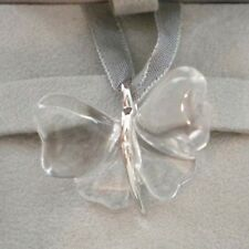 Authentic LALIQUE France Butterfly Papillon Clear Crystal Necklace New in Box