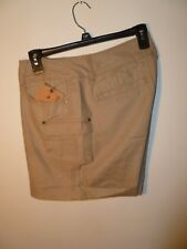 Ruff Hewn Ladies Cargo Shorts Washed Tan Size 12P NWT MSRP $59.00