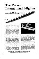 Vintage 1961 Parker Pen International Flighter Print Ad Advertisement