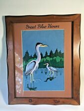 Great Blue Heron Bird Machine Embroidery on Felt Framed Art Handmade Vtg