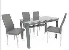Small Compact Glass Dining Table and 4 Matching Chairs chairs Grey Black White