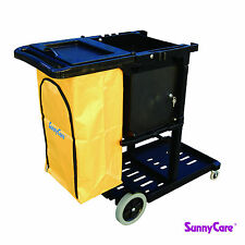 SunnyCare® Black Plastic Janitorial Cleaning Cart With 25 Gallon Bag
