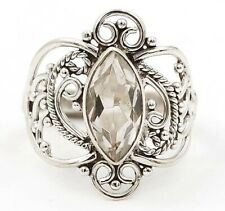 White Topaz 925 Sterling Silver Filigree Ring Jewelry Sz 8.5, EA22-7