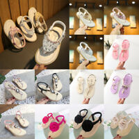 Toddler Kids Baby Girls Crystal Toepost Elastic Band Princess Shoes Sandals