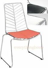 WIRE LEAF BERTOIA CHROME DINING SIDE CHAIR MODERN BLACK, WHITE, RED LEATHERETTE