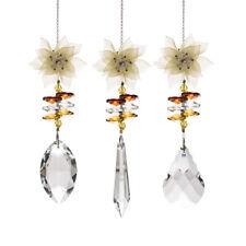 3PCS Crystal Suncatcher Yellow Plastic Flower Ornament Hanging Pendant for Home