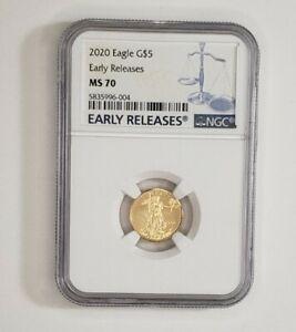 2020 $5 American Gold Eagle 1/10 oz. NGC MS70 Blue ER Label