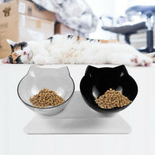 Non-slip Double Pet Bowls with Raised Stand Dog Cat Food Water Feeding Station .