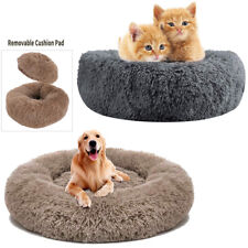 Dog Bed Donut Faux Fur Cuddler Cats Dogs Bed Round Soft Washable Self Warming