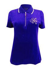 Tommy Hilfiger Women's Velvet Embroidered Logo Polo Top (M, Purple Rain)