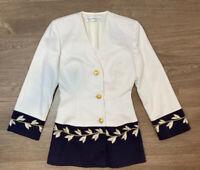 Vintage Christian Dior Woman Blazer Gold Logo Buttons Wool Blazer Shoulder Pads