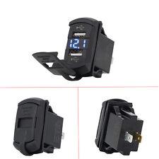 Mictuning 12V Dual Port USB Charger Socket Voltage Voltmeter Rocker Switch Panel