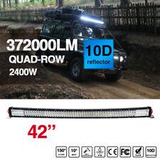 "10D 42"" Curved Quad Row 2400W  LED Light Bar Combo Flood Spot Driving"