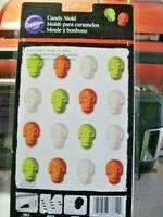 NEW Halloween mini Skulls plastic Candy Mold 24 cavities Wilton #2115-3812