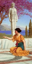 Oil painting john william godward - ancient pastimes girl playing in landscape
