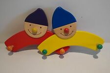 Children's Nearly New Smiley Face Colourful Wooden Coat / Clothes Pegs / Hangars