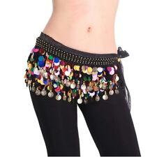 Dancing Coin Chain Sequin Belly Dance Hip Skirt Scarf Wrap Belt Waistband AZ