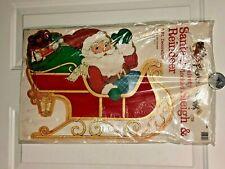 Vtg Christmas Santa's Sleigh with Reindeer Flocked Cardboard Die Cut 6' Long NIP
