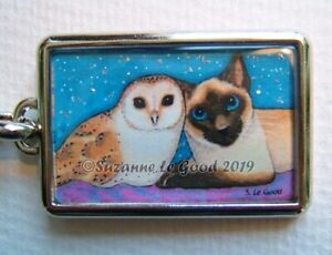 Siamese Cat and Owl art painting keyring bag cat carrier charm Suzanne Le Good