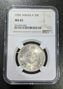 1952 MS65 Angola Silver 20 Escudos NGC UNC KM 74 WHITE LUSTER! 20E
