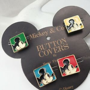 Vintage Mickey & Co Disney Primary Colors Mouse Square Set Of 4 Button Covers