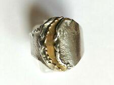 Interessanter Modernist Designer Ring 925 Silber, Größe 21, Handarbeit, Vintage
