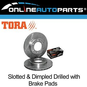 2 Drilled + Slotted Front Disc Brake Rotors + Pads suits Landcruiser 8/80~90 4x4