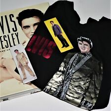 ELVIS PRESLEY - UNSEEN ARCHIVES - book & Elvis Gold lamè T-shirt Sz L& 2 Magnets