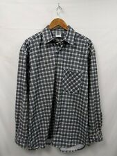 Mens Crane Sports Grey Check Vintage Casual Shirt Size Large #2A1