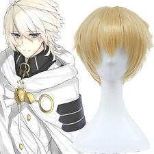 Haruchika Kamijou Haruta Mikaela Hyakuya Men Gold Blonde Short Cosplay Full Wigs