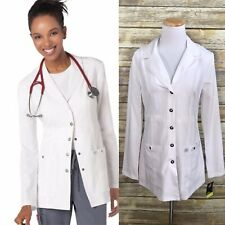 """Dickies Women's Xtreme Stretch 28"""" Snap Front Lab Coat White Small Nwt"""