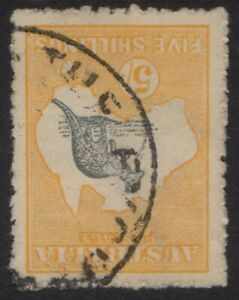 Australia - 2nd wmk 5/- yellow and grey, inverted - used
