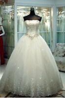New Princess Bridal Wedding Dress Ball Gown Custom Size 10 12 14 16 18 20 22+