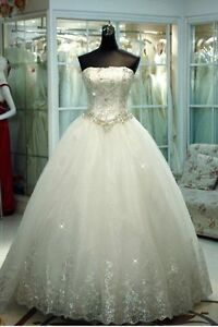New Princess Bridal Wedding Dress Debutante Ball Gown Custom Size 10 12 14 16+
