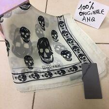 Alexander McQueen Cream/Black seta chiffon, Skulls Silk Scarf 100%Originale AMQ