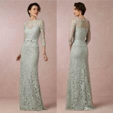 Long Sheath Mother of the Bride Dresses Lace 3/4 Sleeve Formal Gowns Custom Made
