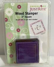"Justrite 2"" SQUARE Wood Stamper Rubber Stamp Mount NIP"